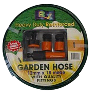 GARDEN HOSE 12MM X 18M FITTED H/D